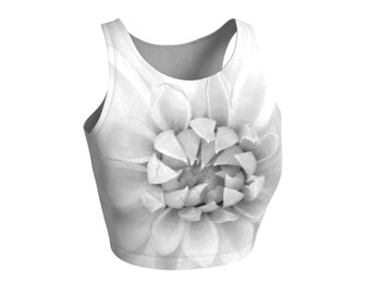Floral Athletic Cropped Top, Dahlia Nature White Gray, Stretch Spandex, For Yoga Exercise Gym Running Fitness, Festival Fashion, Sportswear