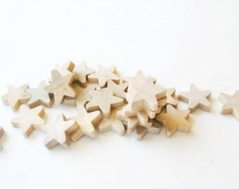 """25 Miniature Wooden stars 3/4"""" -Unfinished wooden stars -Unfinished wooden small stars -Small Stars -Natrual Wood Stars -Mini stars"""