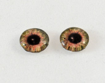 10mm Brown Glass Doll Eye Cabochons - Evil Eyes for Jewelry Making or Sculpttures - Set of 2