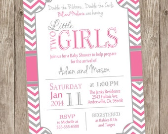 Twin Girls Baby Shower Invitation, Pink and Gray, Chevron Baby Shower Invitation, printable invitation TGPG