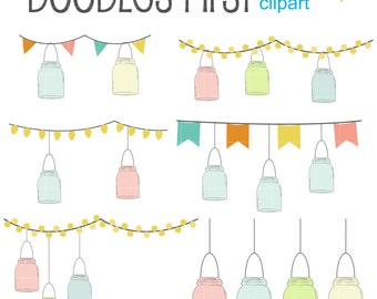 Buntings, Lights And Mason Jars Digital Clip Art for Scrapbooking Card Making Cupcake Toppers Paper Crafts