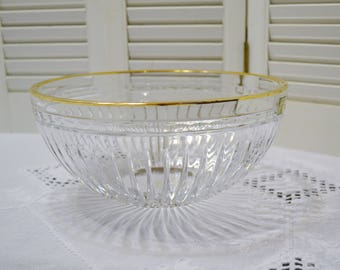 Waterford Crystal Hanover Gold Bowl 10 inch Marquis Collection Cut Gold Rim Signed PanchosPorch