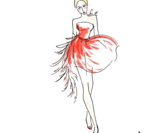 Fashion girl - red dress