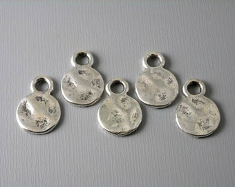 TAG-AS-10MM - 10mm Antiqued Silver Plated Textured Disc - 10 pcs