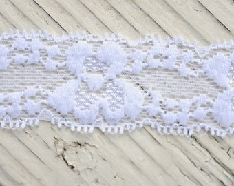 "Lace Elastic - WHITE - 1"" Stretch Lace Elastic - Thin Elastic Lace Trim - Lace by the Yard - 1"" Lace - Lace for Garters and Headbands"