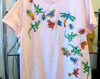 Bugs-Frogs-Lizards Handpainted Ladies T-shirt