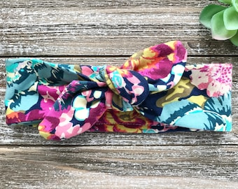 Blue Floral Print Baby Headband - Top Knot Headband - Stretch Headband - Modern Boho Baby - Flowers - Bright Floral - Springtime Garden