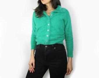 Emerald Green Angora Sweater Size Small
