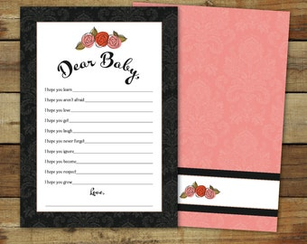 Printable baby shower game, Wishes for Baby, instant download