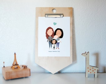 Two mommies Mothers Day Card, Two moms Mothers Day Custom Illustration, Mothers Day from daughter, Mothers Day from Wife, two mommies