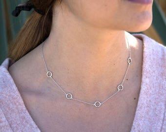 Blue Necklace-Silver 925, circle collar, necklace with circles, circle necklace