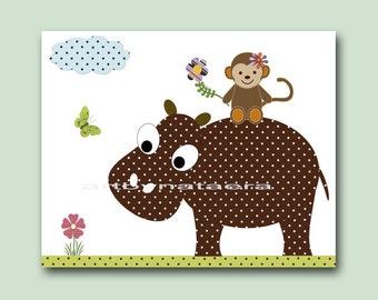 Children decor nursery prints baby decor children wall art kids room decor nursery wall art print hippopotamus monkey artwork print