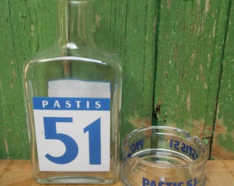 Français PASTIS 51 verre Carafe à eau et Cendrier Pastis 51 (cendrier).
