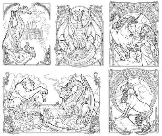 Dragón y el Unicornio para colorear libro Nouveau de