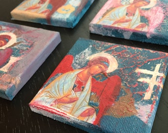 Mini Guardian Angel Icon Mixed Media Painting on 3x3 Canvas (blue)