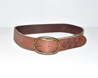 "Vintage Brown Genuine Leather LEVI'S Floral Buckle Women's Hips Belt Size 30"" 76 cm"
