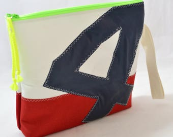 Recycled sail cosmetic bag-water resistant makeup bag,toiletry bag, travel bag-Red and white personalized pouch.