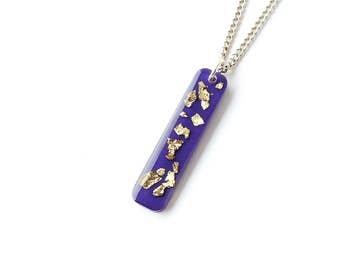 Purple Necklace, Purple & Gold Foil Resin Pendant, Resin Jewellery, Purple Jewellery, UK Seller
