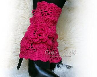 Pink Leg warmers, boot cuffs, lace boot socks, Crochet Dance / Ballet Leg Warmers,fitness boot socks,Gift for her, flower leggings