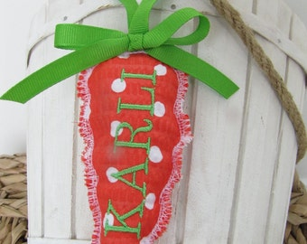 Easter Basket Name Tag Personalized Embroidered Carrot