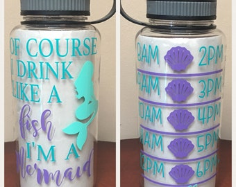 Mermaid water bottle, mermaid water tracker, motivational water bottle, mermaid intake, im a mermaid, of course i drink like a fish fitness