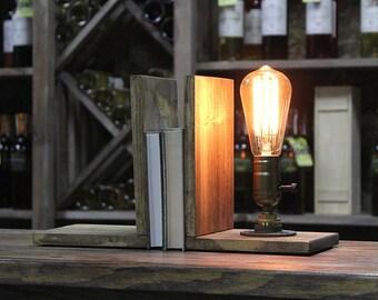 Bookend, Bedside lamp-Loft lamp, Table lamp, Steampunk Light,  Industrial Lighting, Vintage Lamp, Edison Lamp, Rustic Lighting, Desk lamp