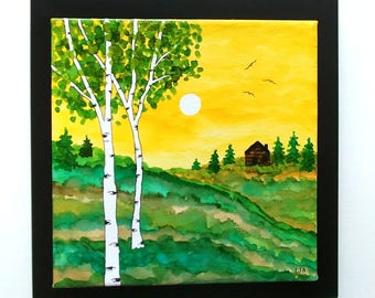Landscape Canvas Painting Birch Trees, Moon, Cabin, Pine Trees with Alcohol Ink - Framed