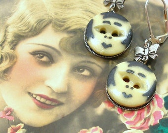 1920s Flapper BUTTON earrings, Edwardian faces on silver. Antique button jewellery.