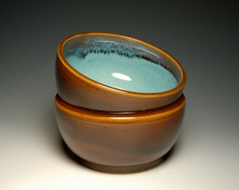 Pair of Cereal Bowls - Hand-Thrown Brown and Teal Pottery