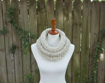 Knit Infinity Scarf, Chunky Knit Scarf, Cowl, Snood, The Birch Cowl, Small - Birch Tweed