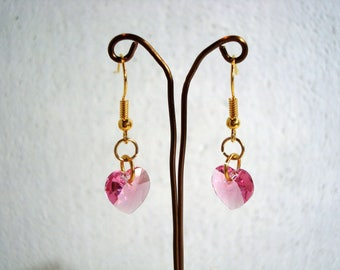 Pink Heart Earrings - Swarovski Elements