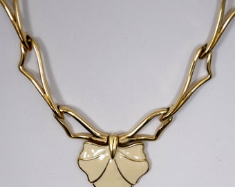 "Antique Monet Necklace 16"" early signed 1940's Enamel Leaf gold tone"