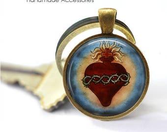HEART of JESUS Key Ring • Sacred Heart • Jesus the Saviour • Christian Heart • Catholic Heart • Gift Under 20 • Made in Australia (K418)