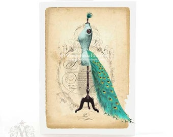 French mannequin card, birthday card, friendship card, peacock tail bustle, blank all occasion card