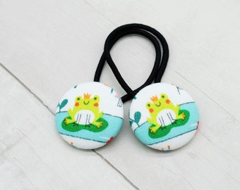 Frog Prince Hair Tie, Frog Ponytail Holder, Princess Party Favor, Princess and the Frog, Frog Pigtail Set, Frog Hair Accessory