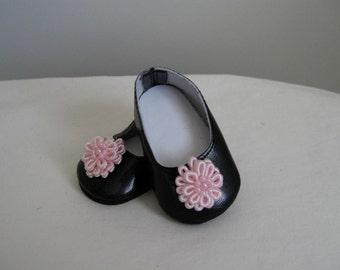 American Doll Accessories-Doll Shoes-Made to fit AMERICAN GIRL DOLLS, Black Flower Trimmed Shoes Fit American Girl Dolls