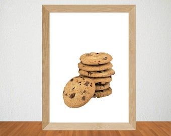 Digital Chocolate Chip Cookies Print, Chocolate Cookies Wall Art, Chocolate Chip Cookies Wall Art, Kitchen Print, Bakery Art, Cafe Wall Art