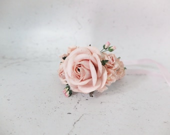 Blush pink wedding flower wrist corsage - bridal accessories flower girls bridesmaids - flower bracelet mother of the groom bride