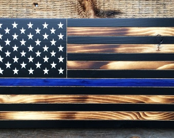 "thin blue line American flag 50 star wall art, Blue lives matter, Back our blue police flag 11"" x 21"""