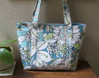 Blue and Green Floral Tote Bag