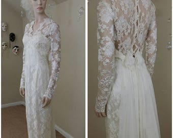 Beautiful Vintage 90s ivory Jessica McClintock Wedding Dress Lace size 9-10 NWT