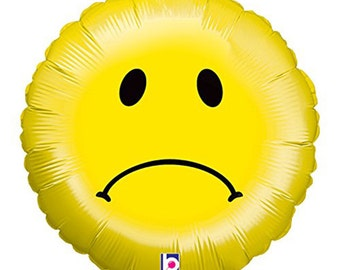 Sad Smiley Face Mylar Balloon - 18 inches - Emoticon emoji Balloon