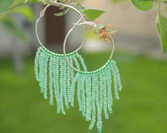 Mint green fringe hoop earrings gift for daughter green jewelry jewelry gifts Threader earrings hoop earrings tribal earrings cute earrings