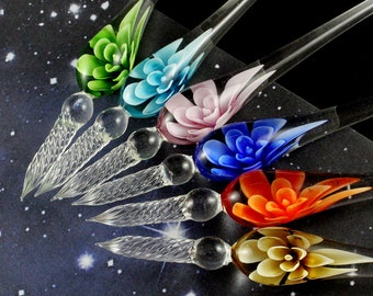 1PC   Handmade Lampwork Glass Pen with 3D Flower inside of Penholder Crystal Calligraphy Dipping Signature Pen Gifts for Her