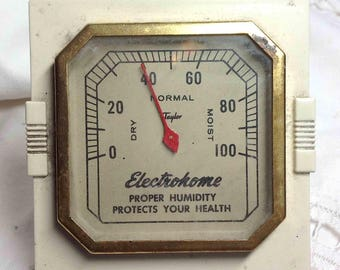 Vintage Humidity Gauge TAYLOR, Electrohome promo 1950s Advertising, Hygrometer, Desktop Shabby Tool - Gift for Him - Ships to USA for 8.98