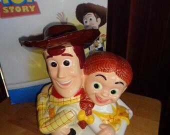 Disney Pixar Toy Story Cowboy Woody and Cowgirl Jessica Cookie Jar in Box