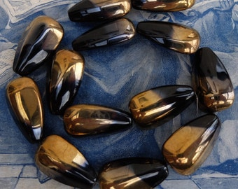 Vintage Black and Gold Bead Glass Large
