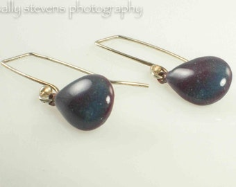Beautiful Purple and Blue Enameled Tear Drop Earrings  With Sterling Ear Wires Dangle Handcrafted Artisan Earrings