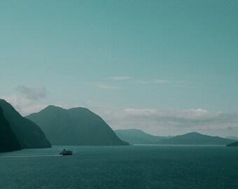 Nature photography, fjord landscape, Hurtigruten ferryboat, Storfjord - Norway, 6x9
