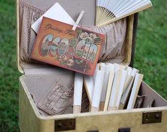 Vintage Travel Postcard Georgia Save the Date Wedding Invitation